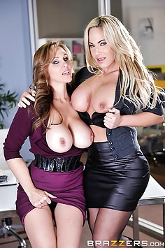 Wild Office Threeway With Julia Ann and Olivia Austin