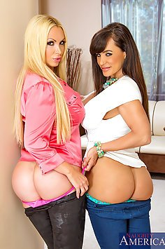 Lisa Ann and Nikki Benz Relaxing With Cock