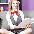 Rachel James Flashes Her Schoolgirl Panties and Tiny Tits - image