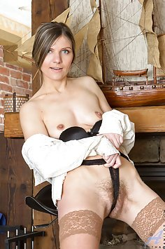 Business Woman Plays with her Fuzzy Minge