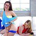 Nerdy Gamer Girls Share a Big Fuck Stick - image